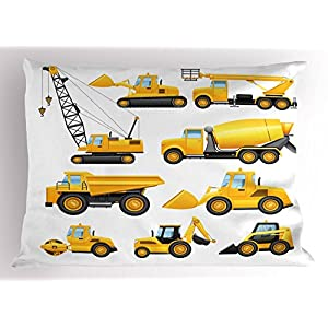 Boy's Pillow Sham by Ambesonne, Abstract Images of Construction Vehicles and Machinery Trucks Bulldozer Crane, Decorative Standard Queen Size Printed Pillowcase, 30 X 20 Inches, Earth Yellow Black