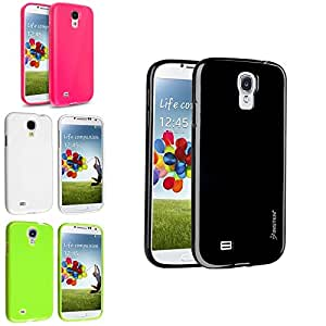 Insten® 4-in-1 Black + Pink + White + Green TPU Skin Gel Case Cover Compatible with Samsung© Galaxy S4 i9500