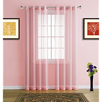 Amazon.com: Warm Home Designs Extra Long Rose Pink Sheer Window ...