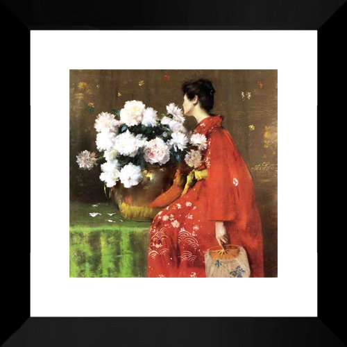(Peonies 15x15 Framed Art Print by Chase, William Merritt)