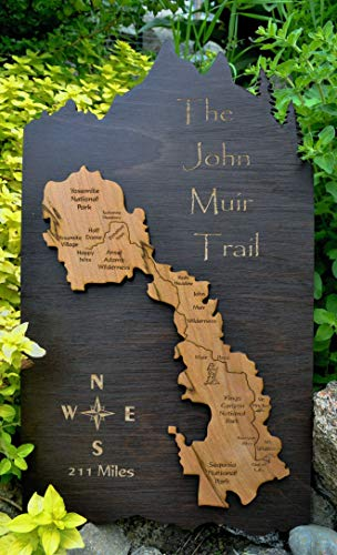 The John Muir Trail Wood Map by Amber Lodge Handcrafted