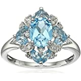 New Womens Fashion Aquamarine Gemstone 925 Silver Wedding Bridal Ring Jewelry (8)