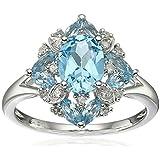New Womens Fashion Aquamarine Gemstone 925 Silver Wedding Bridal Ring Jewelry (8)