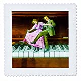 3dRose Scenes from the Past Magic Lantern Slides - Tickling the Ivories Vintage Romantic Tap Dancing Couple Circa 1910 - 20x20 inch quilt square (qs_269937_8)