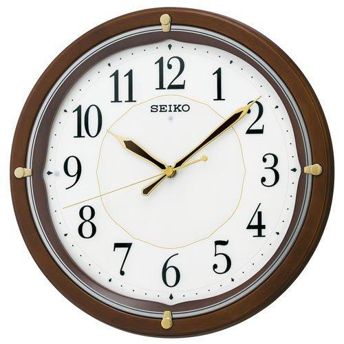 (セイコークロック) SEIKO CLOCK 電波 壁掛け時計 KX202B 全面点灯 LEDライト 丸型 茶木地 白 ホワイト アナログ B015MKV4YS