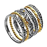 Paz Creations ♥925 Sterling Silver Set of 6 Stacker Rings (5), Made in Israel