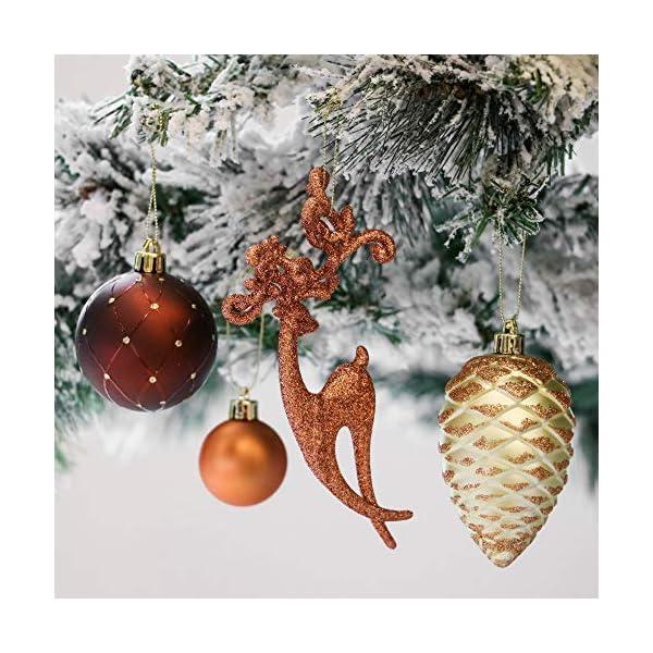 Valery Madelyn Palle di Natale 100 Pezzi di Palline di Natale, 3-5 cm di Rame del Bosco e Oro Infrangibile Ornamenti di Palla di Natale Decorazione per la Decorazione Dell'Albero di Natale 4 spesavip