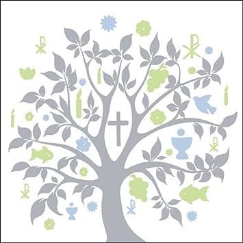 40x Ambiente Servietten Symbol Baum Blau Silber Kommunion