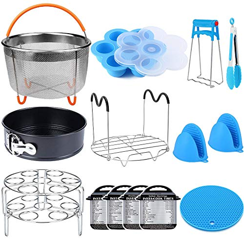 Pot Sets Accessories - 15 Pieces Pressure Cooker Accessories Set Compatible with Instant Pot Accessories 6 qt 8 Quart - Steamer Basket, Springform Pan, Stackable Egg Steamer Rack, Egg Bites Mold, Kitchen Tongs & More