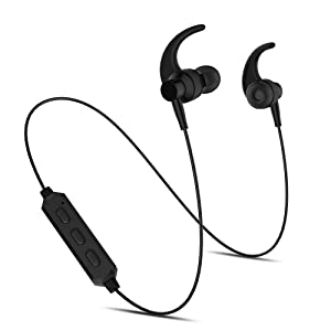 AWINNER Bluetooth Headphones Wireless 5.0 Magnetic Earbuds Snug Fit for Sports with Built in Mic TT-BH07 (IPX6 Waterproof, aptX Stereo,) (Black)