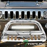 Topline Autopart Stainless Steel Chrome HD Bull Bar Brush Push Front Bumper Grill Grille Guard V2 w/Skid Plate + 120W CREE LED Fog Light Lamp For 05/06-10 Hummer H3 / 09-10 H3T