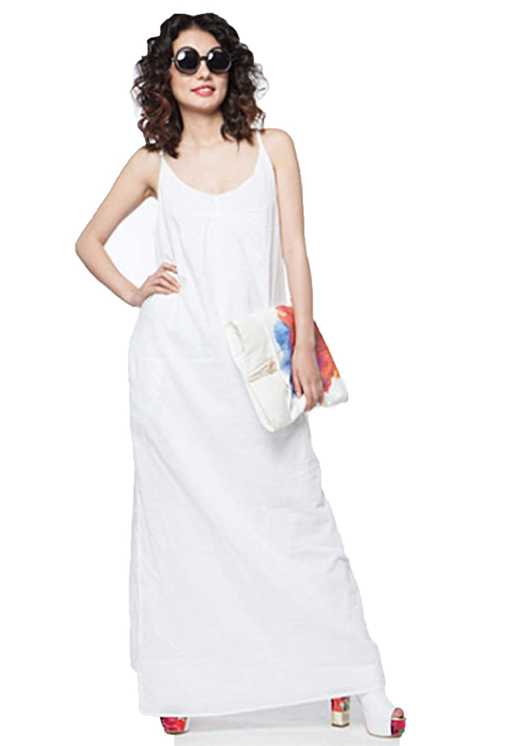 de92a1a418a2 Hudiefly White Cotton Maxi Dress at Amazon Women s Clothing store