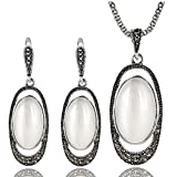 Yfnfxl Vintage Silver Crystal Cocktail Necklace Earrings Fashion White Opal Jewelry Sets