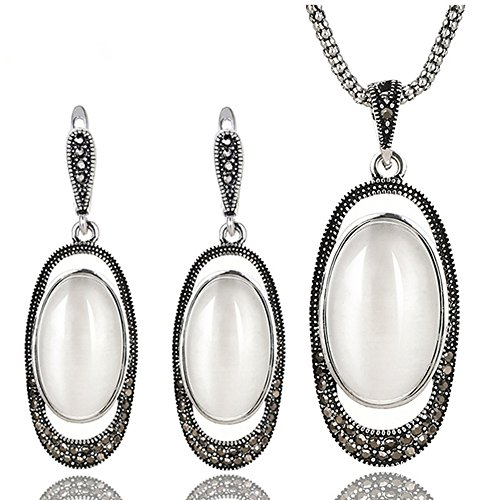 Yfnfxl Vintage Silver Crystal Cocktail Necklace Earrings Fashion White Opal Jewelry Sets by Yfnfxl