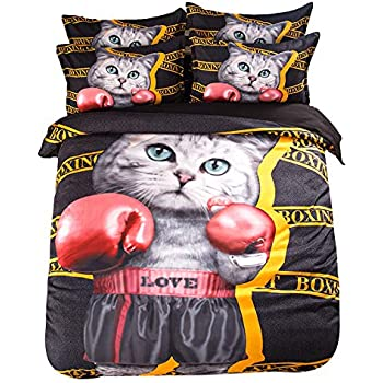 JIBUTENG Home Textiles Boxing Cat Duvet Cover Set Cotton Personality Cartoon Cat Quilt Cover Black Bedding Sets Full Size 4Pcs(Fitted Sheet, Full)