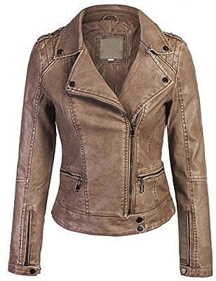 Kogmo Women's Faux Leather Zip Up Everyday Bomber Jacket