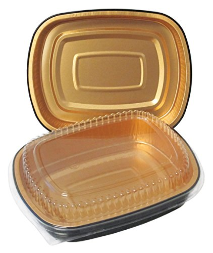 Durable Packaging Black and Gold Pan with Lid, Medium (Pack of 50) (Pans Oven Microwave Oven)