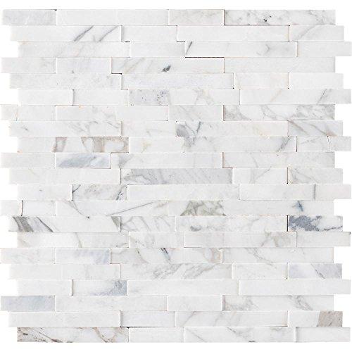 Vogue Peel & Stick Calacatta Carrara Interlocking 3D Random Pattern Marble Mosaics for Kitchen Backsplash & Wall Tile (15) by Vogue Tile
