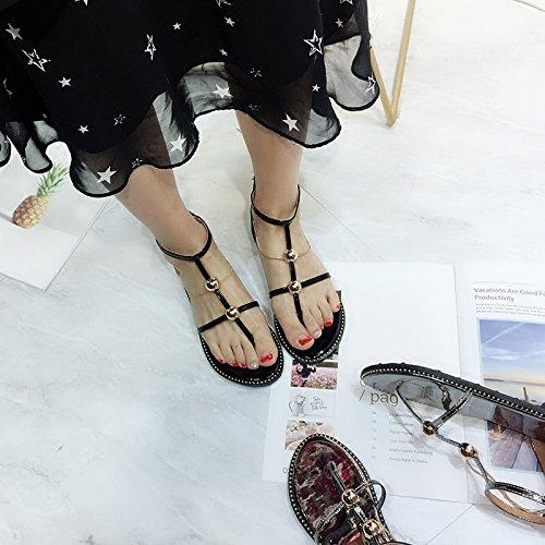 JUWOJIA color Beach Toe Metal Summer Chain Zippers Metal Strap Gun Sandals Mirror Sandals Sole rSZqOr