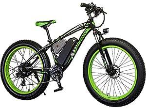 Eléctrico–Prescott grasa de bicicleta para bicicleta de montaña para bicicleta de nieve con extraíble de litio recargable de hierro–Shimano 21velocidades 1000W Adulto E-Bike para playa, nieve, etc., P012-1000w-green, verde