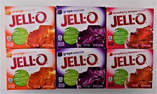 Kids Favorites Jell-o Gelatin Mix 3 oz. Bundle of 6 Packs. Two of Each Flavor: Strawberry Banana, Orange & Grape.