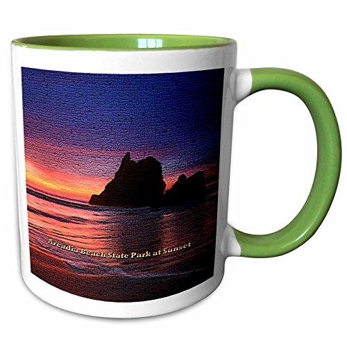 3dRose Sandy Mertens Oregon - Arcadia Beach State Park at Sunset (Textured) - 15oz Two-Tone Green Mug (mug_156467_12)