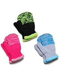 Flammi Kids 3 Pairs Winter Knit Mittens Warm Fleece Lined Gloves Easy On for Boys Girls 2-7 Years (Pink, Black, Aqua)