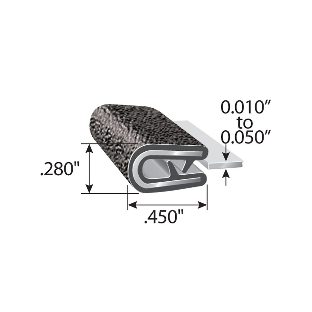 negro Edge Trim Negro Peque/ño Altura 9,5 mm x Gama de agarre 3 mm