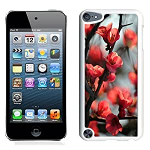 NEW Unique Custom Designed iPod Touch 5 Phone Case With Red Cherry Tree Flowers_White Phone Case
