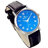 Lancardo Unisex Leather Band Analog Watch With Bright Blue Watch Face Dial Plate (Brown)