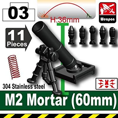 Custom M2 Mortar with Mortar Rounds Designed for Brick Minifigures: Toys & Games