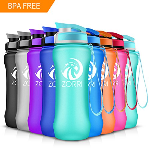 ZORRI Sport Water Bottle 20oz/1000ml,Leak Proof BPA Free Eco-Friendly Plastic Drink Beverage Best Water Bottles for Travel/Hiking/Camping/Outdoor/Running/Gym Flip Top Lid & Filter Opens with 1-Click