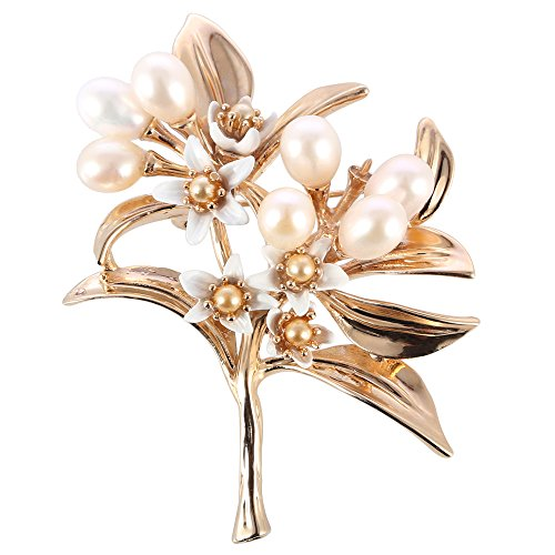 Gold Pearl Cultured Brooch (Women's Gold Charm Elegant Foral Designer Freshwater Cultured White Pearl Brooch)