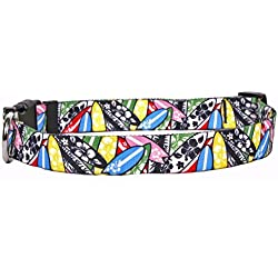 """Yellow Dog Design Surfboards Dog Collar with Tag-A-Long ID Tag System-Large-1"""" Wide and fits Neck 18 to 28"""""""
