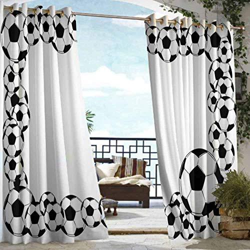 (VIVIDX Doorway Curtain,Soccer,Waterproof Patio Door Panel,W72x84L White Charcoal Grey)