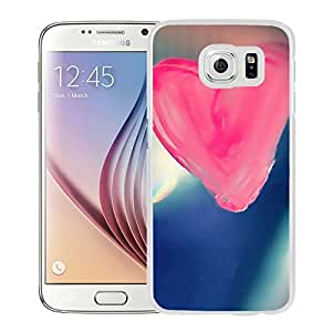 New Beautiful Custom Designed Cover Case For Samsung Galaxy S6 With Pure Pink Love Heart Drawn On Glass Window (2) Phone Case