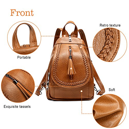Convertible Women Purse Sling Small Leather Brown for Bag Shoulder Backpack UnCxRvwqT