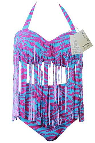 ThumbLike Womens Plus Size Fashion Colorful Tassel High Waist Bikini Bathing Suits Light Blue Stripe (XXL)