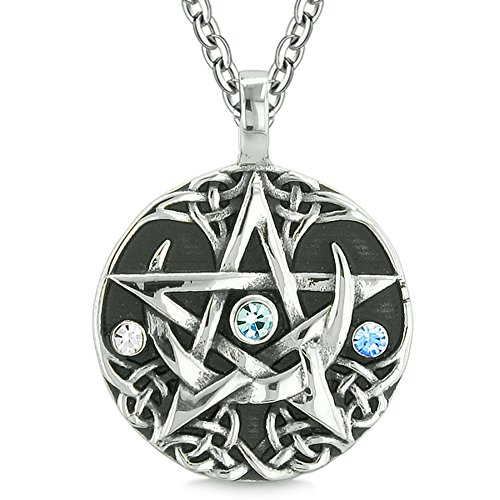 Pentagram Magic (Amulet Pentacle Magic Star Celtic Defense Sky Blue White Crystals Pentagram Pendant 18 Inch Necklace)