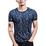 Men Gym Shirts,Men's Summer Casual O-Neck T-Shirt Printing Sport Fast-Dry Breathable Top Blouse,Men's Fashion,Navy,L