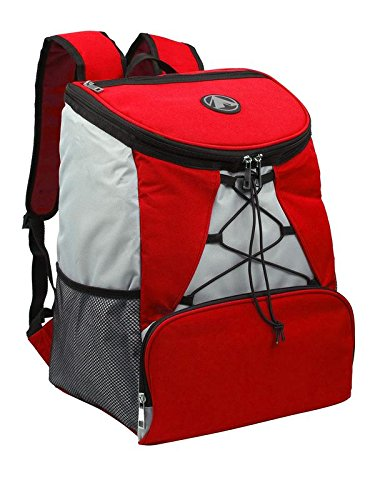 Large Padded Backpack Cooler - Fully Insulated, Leak and Water Resistant, Adjustable Shoulder Straps, Extra Storage Pockets - Red and Grey - by GigaTent