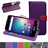 Blu R1 HD R0010UU Case,Mama Mouth [Stand View] Flip Premium PU Leather [Wallet Case] With Card / Cash Slots and Pocket Cover For Blu R1 HD R0010UU Smartphone,Purple