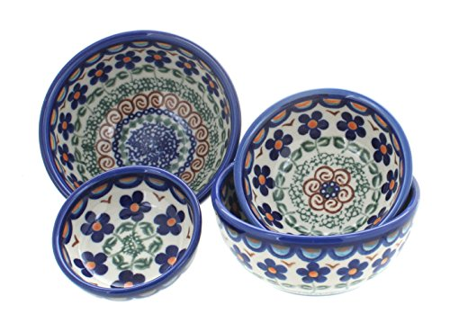 Polish Pottery Aztec Flower Measuring Bowl Set