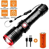 Wsky LED Tactical Flashlight Rechargeable - Brightest S3000 High Powered Flashlight with 7500mAh