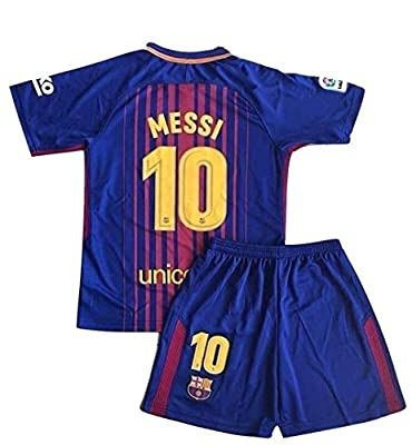 Petersocks 10 Messi Barcelona Home Kids Or Youth Soccer Jersey & Shorts Set 2017-2018 Season Red/Blue