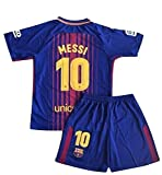 #10: Petersocks 10 Messi Barcelona Home Kids Or Youth Soccer Jersey & Shorts Set 2017-2018 Season Red/Blue