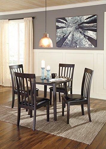 Hammis Dark Brown Color Round Drop Leaf Table w/ 4 Side Chairs