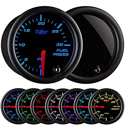 GlowShift Tinted 7 Color 30 PSI Fuel Pressure Gauge Kit - Includes Electronic Sensor - Black Dial - Smoked Lens - for Diesel Trucks - 2-1/16