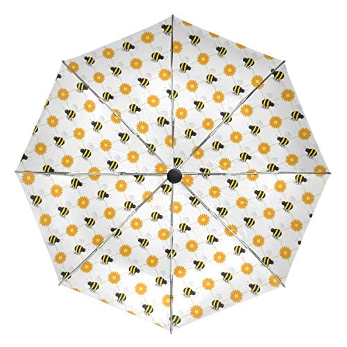 Compact Travel Umbrella Buzzy Bees Vector Wind Proof Travel Umbrella Auto Open Close, Reinforced Canopy, Ergonomic Handle, Automatic Umbrella Unisex Lightweight -