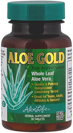 Aloe Life - Aloe Gold Tablets, Immune System Support and Healthy Herbal Bitter for Natural Digestive Aid, Energy and Body Wellness, Certified Organically Grown Whole Leaf Aloe Vera Leaves (30 Tablets)